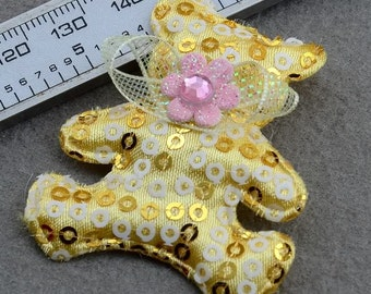 10 Fancy Jumbo Yellow Embellished Padded Felt Appliques Teddy Bears
