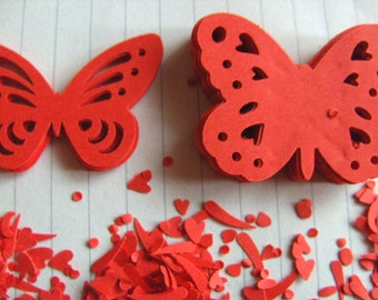 100 , RED, Paper, butterflies, scrapbooking, card making, confetti, wedding, by DoodleDee2 on etsy