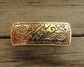 Genoa Rectangle Metal Buttons with Etched Pattern Antiqued Gold - Shank Button