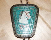Equestrian Horse Bolero Sterling Silver and Turquoise Inlay Marked Mexico