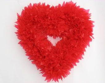 Red Heart Wreath -- Valentine's Wreath -- Red Wreath -- Heart Wreath -- Outdoor Wreath -- Door Wreath -- Indoor Wreath -- Winter Wreath