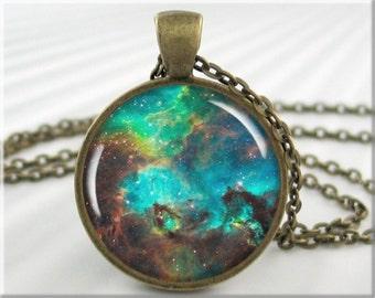 Nebula Pendant Necklace, Resin Jewelry Charm, Hubble Space Nebula Jewelry, Heavenly Picture Pendant, Round Bronze Pendant (442RB)