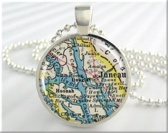 Juneau Map Pendant, Resin Charm, Juneau Alaska Map Necklace, Picture Jewelry, Gift Under 20, Round Silver (487RS)