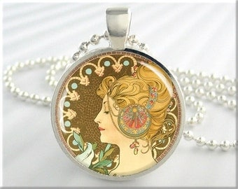 Mucha Necklace High Fashion Jewelry Charm Resin Pendant Art Nouveau Neoclassical (582RS)