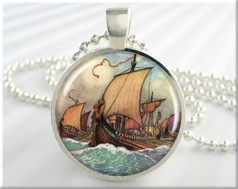 Sailing Ship Art Pendant Warwick Goble Fairy Tale Sailing Galley Necklace Resin Picture Pendant (591RS)