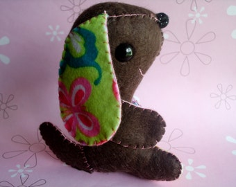 Dark Brown Long Eared Puppy Dog Stuffed Animal Plush Plushie Green Pink Ooak Gift Cute Toy Nursery Softie