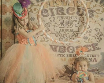 NEW ITEM 7ft x 5ft Circus Poster ---- Vinyl Photography Backdrop / Grunge Dots
