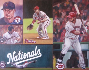 Custom Collage Portrait - Oil Painting - Sports themed - 18x24