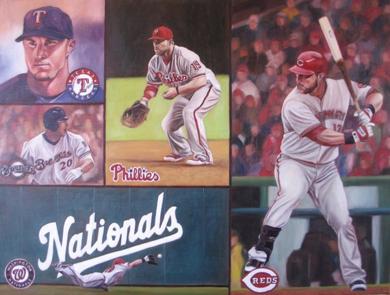 Custom Collage Portrait - Oil Painting - Sports themed