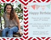 Red Chevron Birthday Invitation Template 4x6
