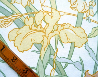Meadow Print Cotton Fabric Piece, Yellow and Orange Flowers With Green Foliage, Sewing Supplies