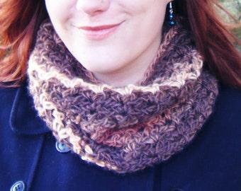 Brown Crochet Cowl Multi-coloured Stripy Neckwarmer