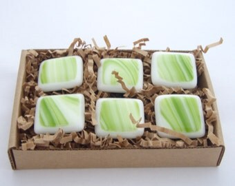 Fused Glass Magnets - Set of 6 - Sour Apple