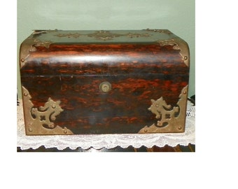 Antique Coromandel Wood Box Joseph Bramah London 1784-1814 Royal Blue Interior jewel casket