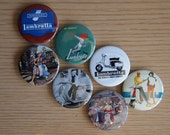 7 Lambretta fridge magnets.  Vintage Lambretta images to hold things magnetically.