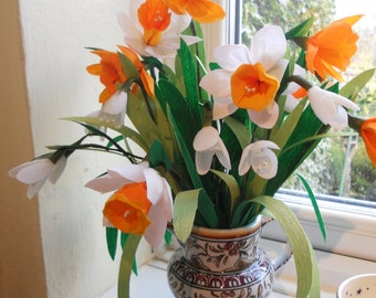 Crepe paper spring flower bouquet  snowdrops and daffodils