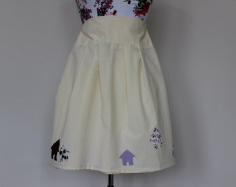 CLEAR OUT !!! Cream yellow handmade skirt with applique houses home: size 10 waist 29""