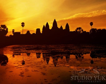 Sunset Landscape Photography, Travel, Asia, Cambodia, Angkor Wat, Nature, Trees, 9x12, Reflection - The Night is on Fire