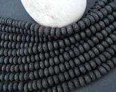 """Natural Black Lava Beads 10x6mm Rondelle - Full 16"""" Strand"""