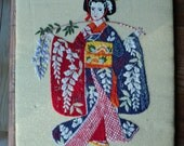 Vintage Crewel Stitched Portrait of an Asian Geisha in detailed Kimono Robe sewn on Gold Metal Linen Cloth wonderfully well made textile