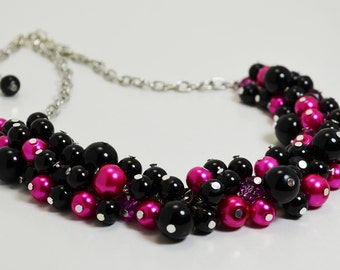 Black and Hot Pink Necklace, Chunky Necklace, Pink and Black Cluster Necklace, Beaded Jewelry, Bridal Jewelry, Funky Necklace, Bold Jewelry.