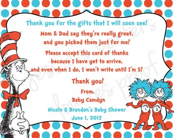 Custom Made Dr. Suess Baby Shower Thank You Card