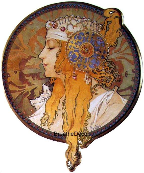 Mucha The Blonde Digital Art Illustration Downloadable Print