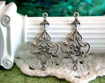 Antique Silver Stampings, Floral Filigree Links, Connectors, Earring Findings, Antique Silver Plated Brass Stampings, Made in USA ~ STA-060