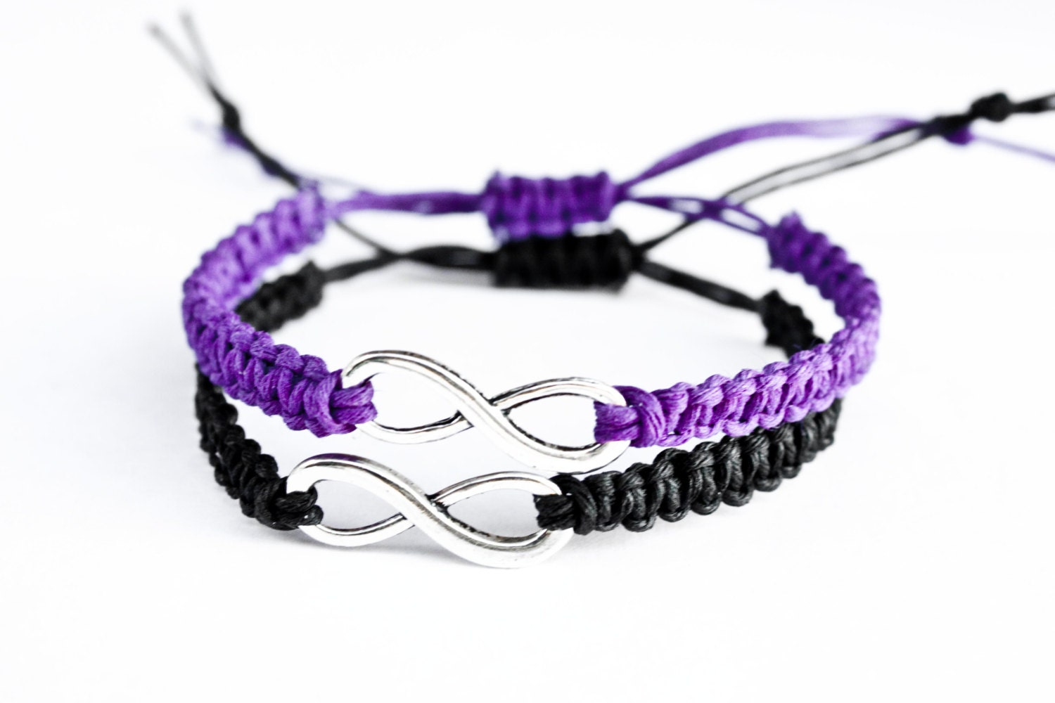 Infinity Couples Bracelets Purple and Black Friendship