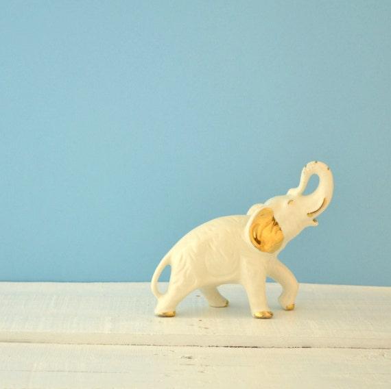 Vintage Elephant Figurine Porcelain Elephant Baby By Kolorize