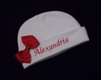 Personalized Baby Hat with Bow - Embroidered Personalized Baby Cap