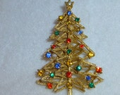 Vintage ART Christmas Tree Brooch Pin Rhinestons in Yellow Blue Green Red New Condition Detailed Gold tone Womens Holiday Jewelry