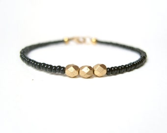 Gold Nugget Bracelet, Black Friendship Bracelet, Simple Beaded Jewelry UK