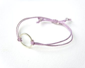 Purple Eternity Bracelet, Silver Circle Bracelet, Cord Bracelet, Friendship Jewelry UK