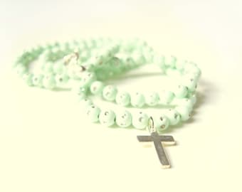 Mint Necklace, Mint Beaded Necklace, Silver Cross Necklace, Mint Jewelry UK