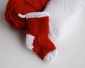 Knitted Christmas Stocking - mini Christmas ornament - mini stocking - knit stocking - small red stocking