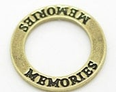 Memories Charms Bronze - Word Ring Charms - 23mm - 5pcs - Ships IMMEDIATELY  from California - BC542