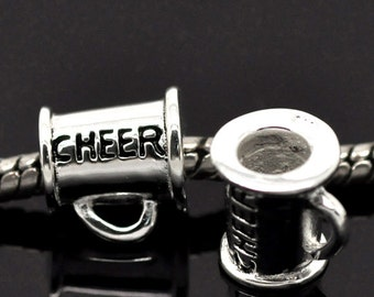 """SALE Sterling Silver - Bail Bead - Megaphone - """"CHEER"""" - 925 Stamped Sterling Silver  - 10mm - Ships IMMEDIATELY from California - B431"""
