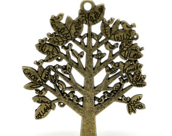 SALE Bronze Tree Pendant - LARGE - Antique Bronze - 70x60mm - Ships IMMEDIATELY  from California - BC499