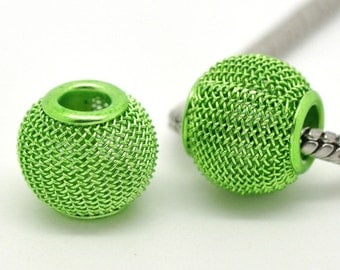 Green Mesh Beads - Spacer Focal - 12x14mm - 5pcs -  Ships IMMEDIATELY  from California - B564