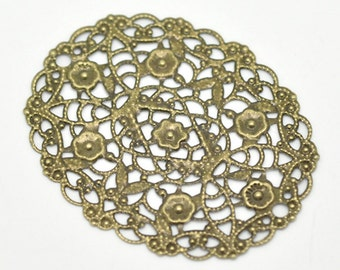 30 Bronze Filigree Connectors - WHOLESALE - Flower Wrap - Antique Bronze - 50X40mm - Ships IMMEDIATELY from California - BC543a