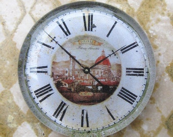 """Vintage Clock Face Shabby Clock White Black Cottage Home Decor Gift Idea Glass Paperweight Italian Clock 2 3/8"""" Diameter 1/2"""" Thick"""