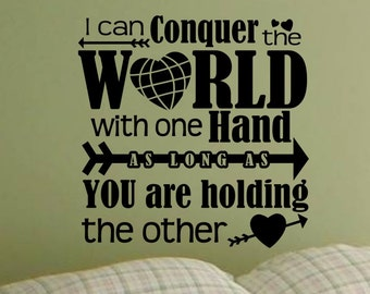 Master Bedroom Decorations I Can Conquer The World Wall Decal Love Quote Heart Sticker Removable Vinyl Lettering Bed Room Decor Living Room