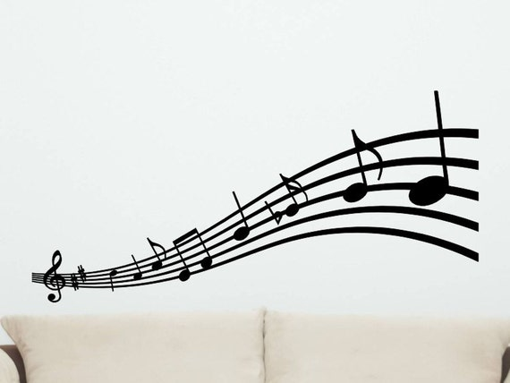 Wall Decorations Music Notes : Musical notes wall decal style decor music