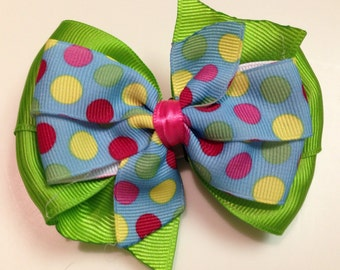 Green & Blue with Red, Pink, Yellow, and Lime Polka Dots Stacked Boutique Style Ribbon Bow Handmade for PETS Dog Collar Accessory