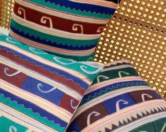Primitive Tribal Appliquéd Akha Symbols on Tan 18 Inch Pillow Cushion Cover