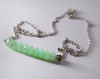Seafoam Beaded Necklace Bar Jewelry Green Iridescent Beads