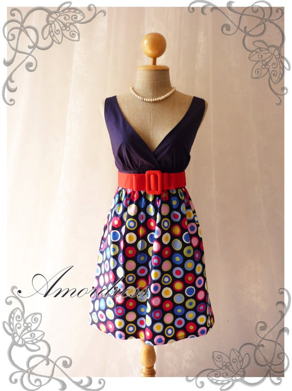 Be on Spot - Popping Chic Retro Cotton Summer Dress Party Colorful or Everyday Dress-Size S-