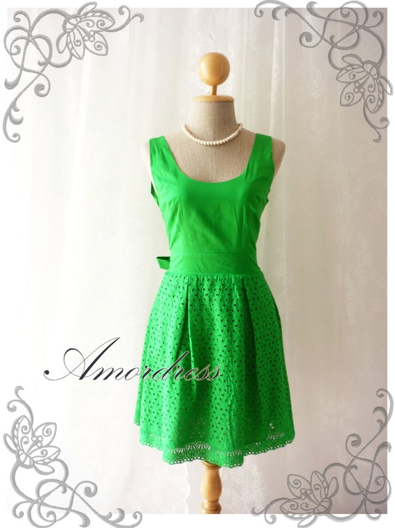 Lacey Lace Green Dress Summer Dress Party Cocktail Tea Dress Vintage Inspired Dress -Size S- SALE TODAY