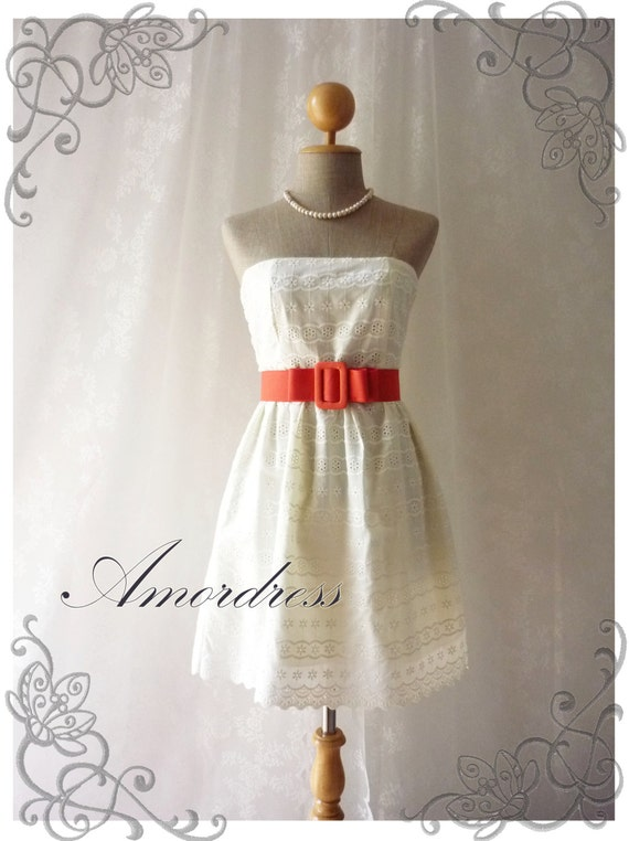 Sexy Sweet Cream Lace Dress Princess Lacy Strapless Summer Lace Dress Party Prom Wedding Birthday Anniversary Dress -S-M- SALE TODAY